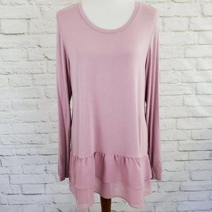 LOGO by Lori Goldstein Tunic Top Dusty Rose Large